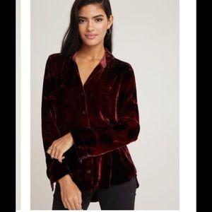 NEW Bella Dahl Plum Velvet Button Down Shirt